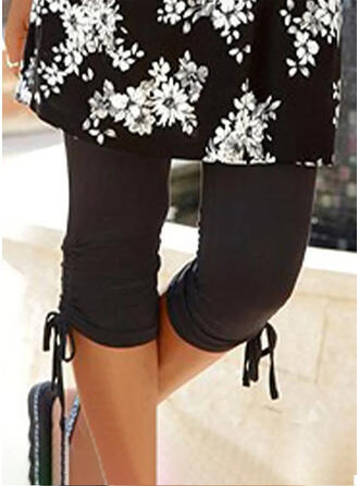 Solid Drawstring Casual Skinny Shorts