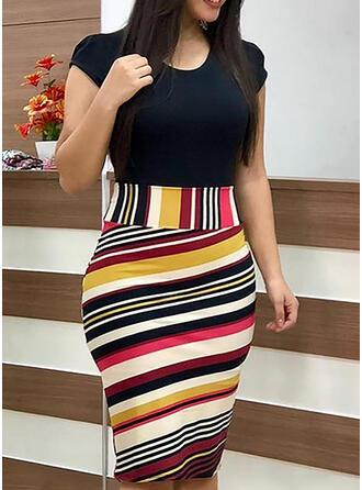 Plus Size Floral Print Short Sleeves Bodycon Knee Length Casual Elegant Dress