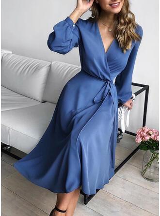 Solid Long Sleeves A-line Wrap Casual/Elegant Midi Dresses