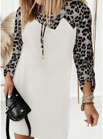 Color Block/Leopard Long Sleeves Shift Above Knee Casual T-shirt Dresses