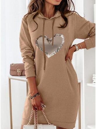 Print/Heart Long Sleeves Shift Above Knee Casual Sweatshirt Dresses