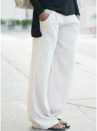 Solid Plus Size Casual Plain Lounge Pants