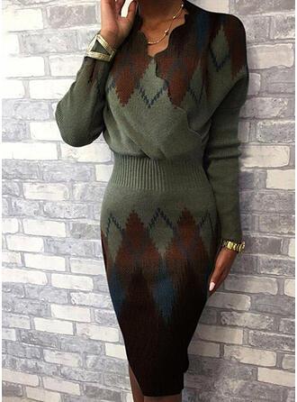 Färg block Geometrisk V-ringning Casual Lång Tät Tröja klänning