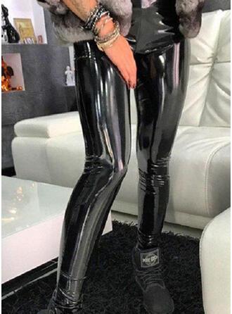 Solid Shirred Extra stor storlek Lång Sexig Mager Läder Byxor Damasker