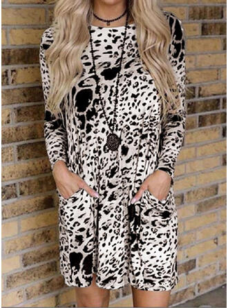 Leopard Långa ärmar Rak Ovanför knä Fritids Tunika Klänningar