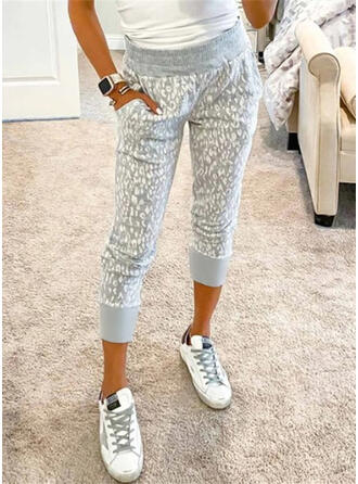 Pockets Leopard Casual Print Lounge Pants