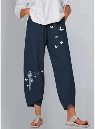 Print Plus Size Casual Vintage Lounge Pants