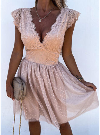Solid Lace Short Sleeves Cap Sleeve A-line Above Knee Party/Elegant Skater Dresses