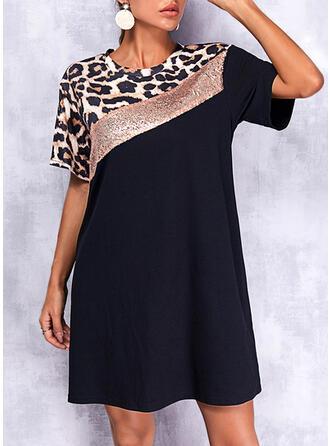 Color Block/Leopard Short Sleeves Shift Above Knee Elegant T-shirt Dresses