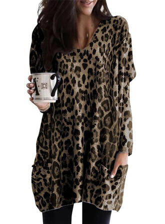 Leopard V-ringning Långa ärmar Fritids Stickning Blusar