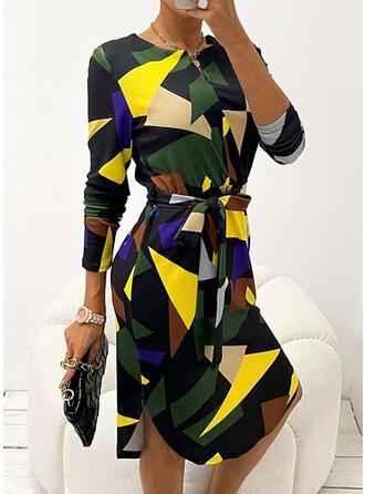 Geometric Long Sleeves Shift Casual/Office/Business Midi Dresses