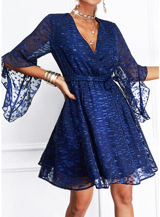 Solid Lace 1/2 Sleeves Flare Sleeve A-line Above Knee Elegant Wrap/Skater Dresses