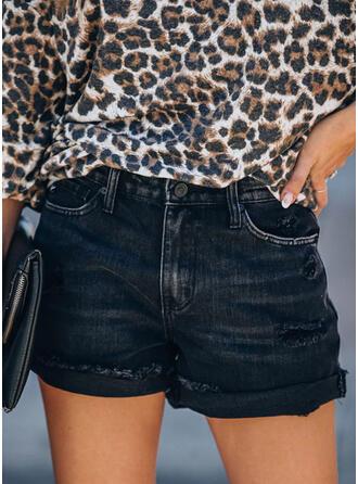 Solid Elegant Sexy Shorts Denim & Jeans