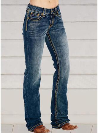 Broderi Shirred Extra stor storlek Lång Elegant Mager Denim & Jeans