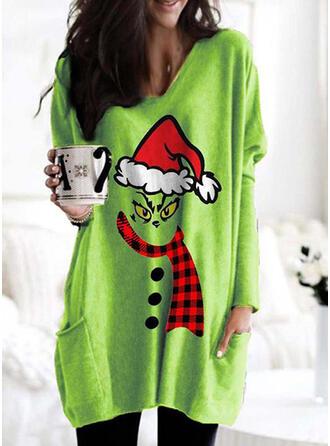 Christmas Print Plaid Round Neck Long Sleeves Christmas Sweatshirt