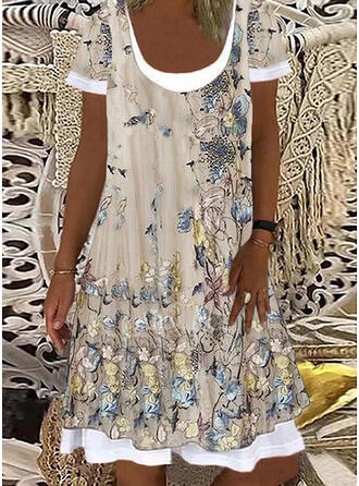 Floral/Animal Print Short Sleeves Shift Knee Length Casual/Vacation Tunic Dresses