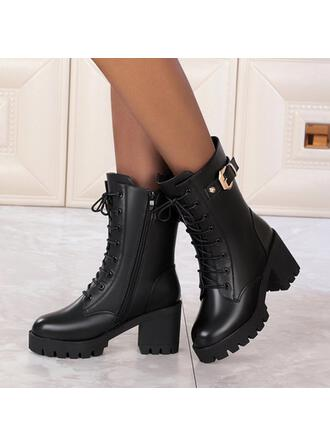 Women's PU Cone Heel Mid-Calf Boots Heels Round Toe Martin Boots With Zipper Lace-up Solid Color shoes