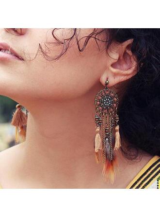 Vintage Boho Alloy Feather Cotton String Women's Earrings