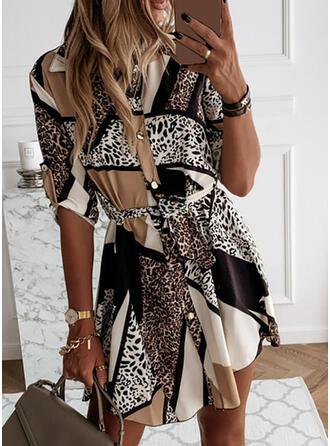 Leopard Långa ärmar A-linjeformad Ovanför knä Fritids Skjorta/Skater Klänningar