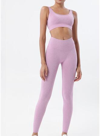 Spandex Nylon Chinlon Plain Yoga Sets Moisture wicking