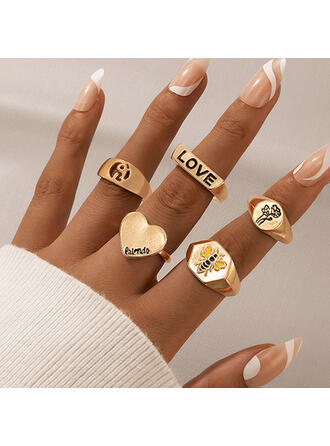 Attractive Charming Artistic Delicate Alloy With Flower Women's Ladies' Rings 4 PCS
