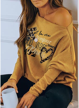 Print Leopard Figure Heart One-Shoulder Long Sleeves Casual Knit Blouses