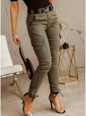 Solid Long Casual Vintage Plus Size Pocket Shirred Pants