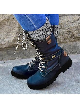 Kvinnor PU Låg Klack Halva Vaden Stövlar Martin Stövlar med Zipper Bandage skor