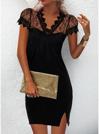 Solid Lace Short Sleeves Cap Sleeve Bodycon Above Knee Little Black/Elegant Dresses