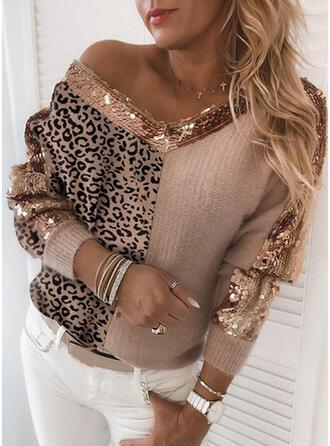 Color Block Leopard Sequins V-Neck Casual Sweaters