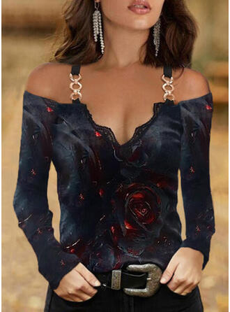 Floral Print Lace Cold Shoulder Long Sleeves T-shirts