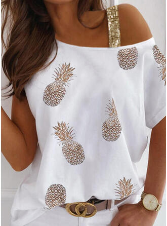 Print Sequins One Shoulder Short Sleeves Casual Blouses