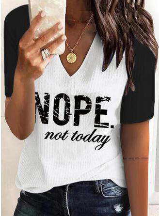 Color Block Print Letter V-Neck Short Sleeves T-shirts