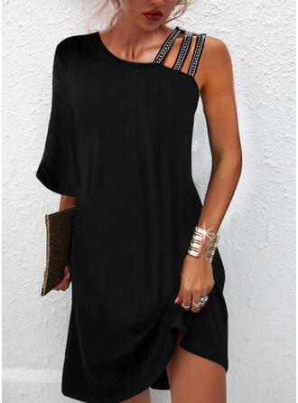 Solid Sequins 3/4 Sleeves Shift Above Knee Little Black/Elegant Dresses