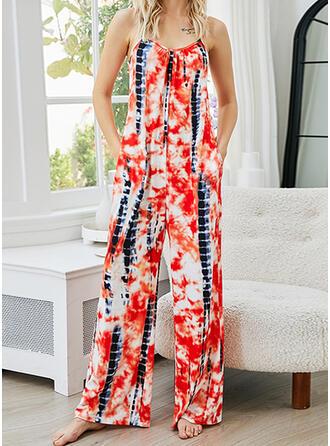 Print Spaghetti Straps Sleeveless Casual Vacation Jumpsuit
