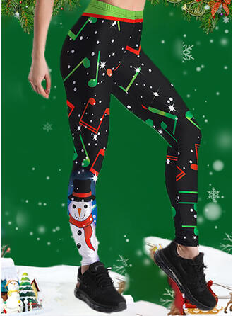 Print Plus Size Christmas Casual Sporty Yoga Leggings