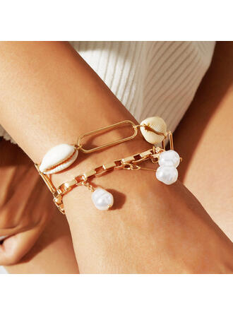 Cool Layered Alloy Imitation Pearls With Shell Women's Bracelets 2 PCS
