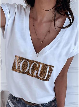 Leopard Print Letter V-Neck Short Sleeves T-shirts