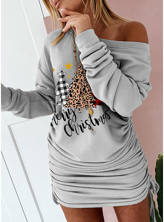 Print/Plaid/Leopard Long Sleeves Bodycon Above Knee Christmas/Casual Sweatshirt Dresses