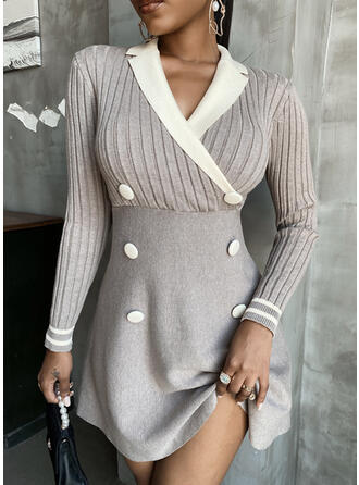 Solid Lapel Casual Long Sweater Dress