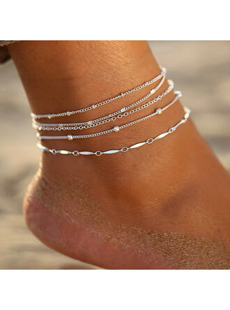 Simple Charming Alloy Anklets (Set of 5)