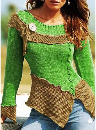 Color Block Chunky knit Round Neck Casual Sweaters