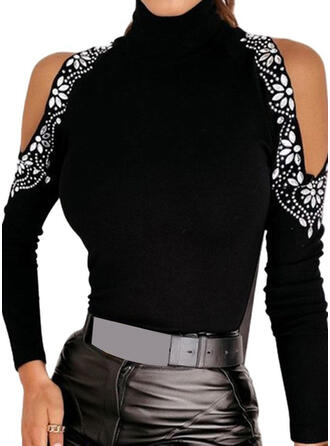 Print Cold Shoulder Casual Sweaters