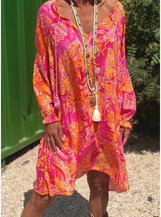 Print Long Sleeves Shift Knee Length Casual/Vacation Tunic Dresses
