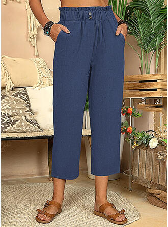Solid Cotton Cropped Casual Vacation Plus Size Shirred Button Lounge Pants
