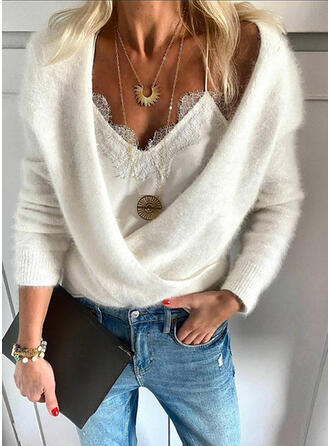 Solid V-Neck Sexy Sweaters