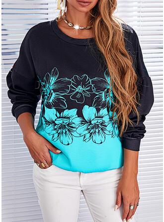Print Floral Round Neck Long Sleeves Sweatshirt