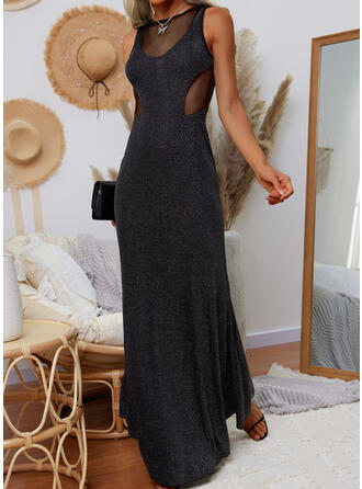 Solid Sleeveless Sheath Little Black/Party Maxi Dresses