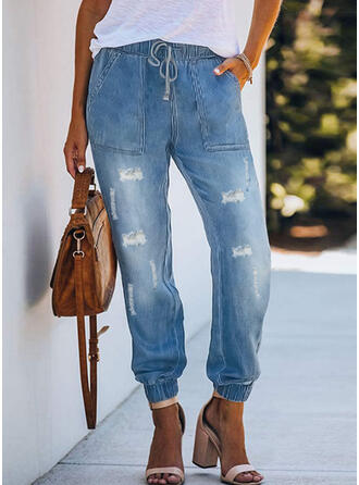 Ripped Drawstring Casual Plain Denim & Jeans