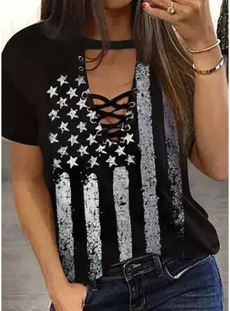 Print Lace-up Round Neck Short Sleeves Casual Blouses